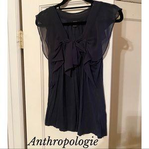 NEW Anthropologie Deletta Dark Blue Tie Front Top